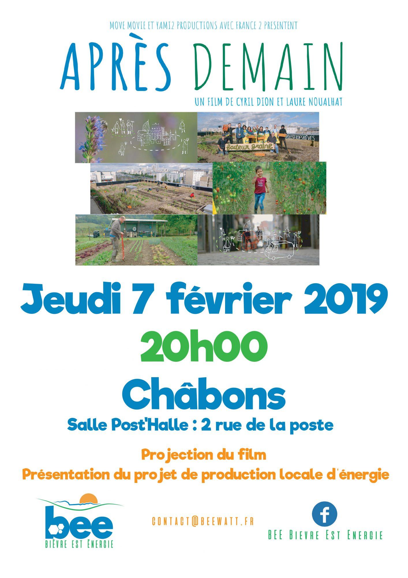 Projection du film Après-demain à Châbons