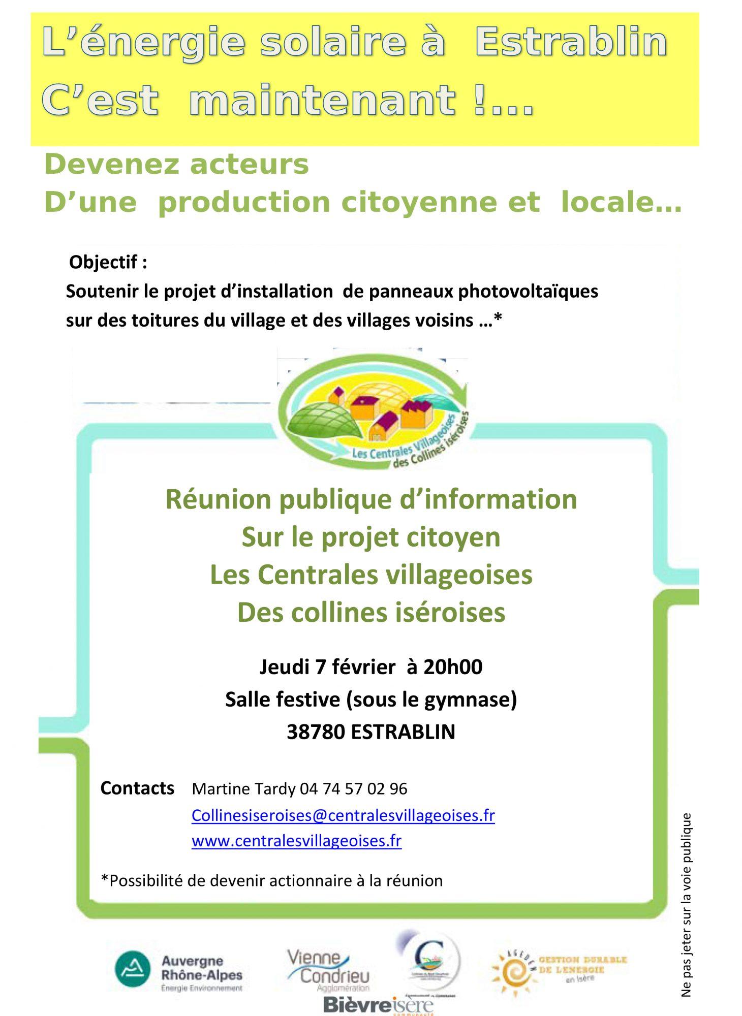 Réunion publique : Centrales Villageoises des collines isèroises – 7/02 à Estrablin