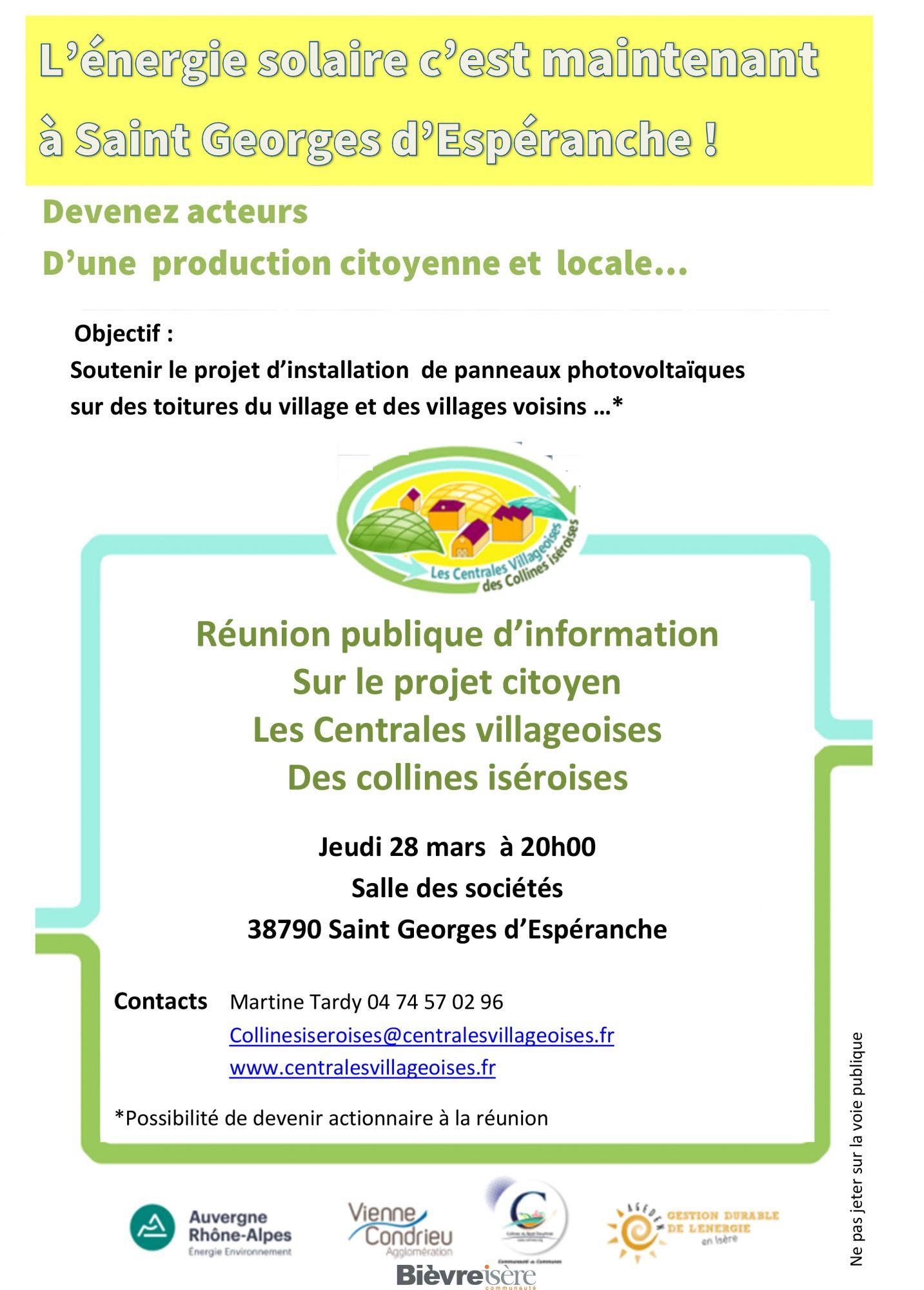 Réunion publique des Centrales Villageoises des Collines Isèroises le 28 mars