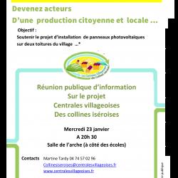 Réunion publique : Centrales Villageoises des collines isèroises – 23/01 à Roche